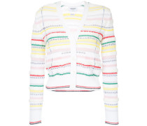 V-neck Cardigan With Tipping Stripe In Cotton Lurex Knit Tweed