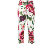 rose printed cropped trousers