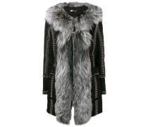 studded zipped fur-trim coat