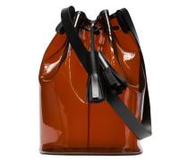 Brown and black PVC bucket bag