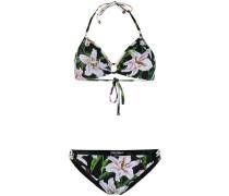 Neckholder-Bikini mit Lilien-Print