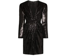 sequinned lace underlay mini dress