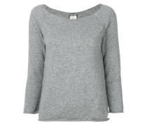 boat neck cropped sleeve sweater