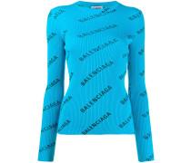 Gerippter Pullover mit Logo