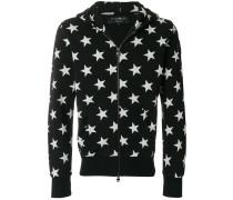 star print zipped hoodie