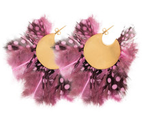 pink, black and white feather silver hoop earrings