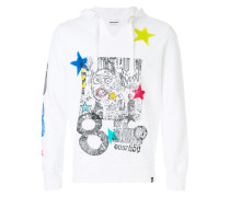 graffiti and star print hoody