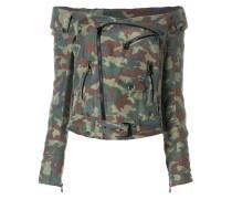 Schulterfreie Camouflage-Seidenbikerjacke
