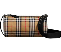 The Small Vintage Check and Leather Barrel Bag