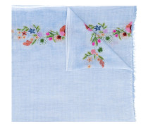 floral-embroidered gauze scarf
