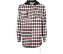 Kariertes Distressed-Hemd mit Kapuze