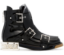 Black Buckle 35 Patent Leather Boots