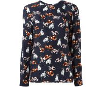Langarmshirt mit Katzen-Print aus Seide