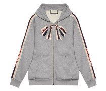 stripe zip up sweatshirt