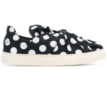 polka dot knot front slip-on sneakers