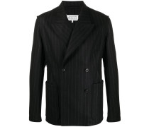 double-breasted pinstriped blazer
