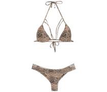 printed triangle top bikini set