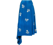 floral-embroidered wrap skirt