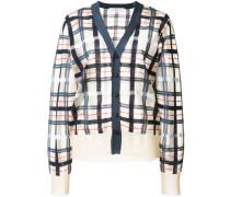 checkered knit cardigan