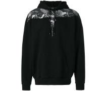 bird print zip-up hoodie