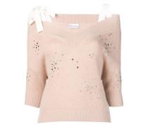 Schulterfreier Pullover mit Verzierung