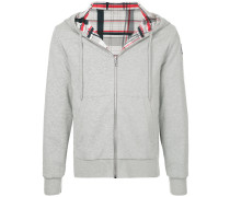 checked lining hoodie