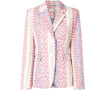 geometric printed notch collar blazer