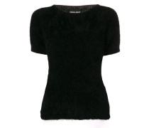 fuzzy-knit sweater