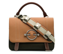 nude, brown and green disc leather satchel bag