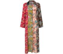 multi-pattern shirt dress
