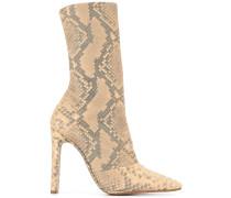 python printed chunky heel boots