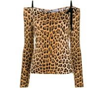 Schulterfreies Top mit Leopardenmuster