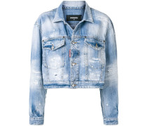 Cropped-Jeansjacke in Distressed-Optik