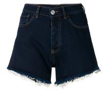 beaded trim denim shorts