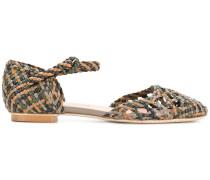 woven ankle strap pumps