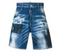 Jeans-Shorts mit Farbklecks-Print