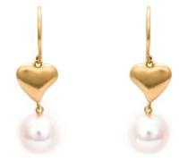 22kt Goldohrringe mit Herz und Perle