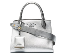Silver Monogram Leather Tote Bag