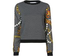 Gepunkteter Pullover mit Schmuck-Print