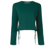Bestickter Pullover mit Schnürung