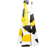 flared colour-block gown