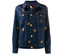 embroidered crest denim jacket