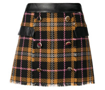 checked double-breasted skirt