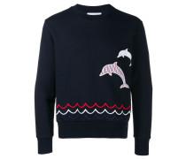 Dolphin Embroidery crew neck Sweatshirt