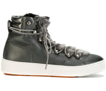 Shearling-Sneakers mit Schnürung