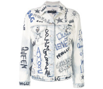Jeansjacke im Graffiti-Look