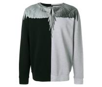 Zweifarbiges Sweatshirt mit Flügel-Print