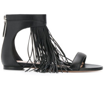 Flache Sandalen mit Fransen