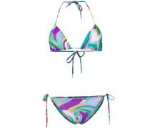 Triangel-Bikini mit abstraktem Print