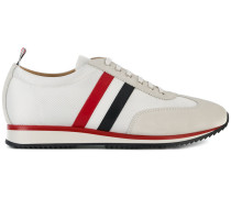 Running Shoe With Red, White And Blue Stripe In Suede & Cotton Blend Tech